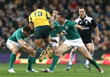 Tommy Bowe and Robbie Henshaw combine to tackle Israel Folau