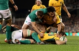 Bernard Foley scores a try for Australia