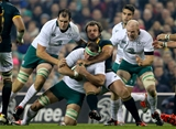 Ireland's Devin Toner, Paul O'Connell and Rhys Ruddock with Bismarck du Plessis of South Africa Springboks