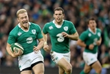 Stuart Olding runs in for a try (Ireland v Georgia, Guinness Series - 16/11/2014)