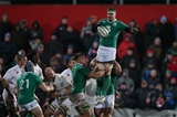 Ireland's Robbie Diack wins a lineout