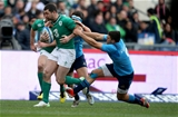 The advancing Rob Kearney is tackled by Italian scrum half Edoardo Gori Credit: ©INPHO/Dan Sheridan