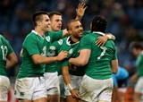 Flanker Tommy O'Donnell is congratulated on scoring Ireland's second try of the game Credit: ©INPHO/Ryan Byrne