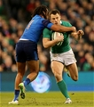 Ireland winger Tommy Bowe tests out Teddy Thomas' defence near the right touchline Credit: ©INPHO/Ryan Byrne