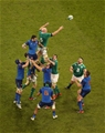 Ireland captain Paul O'Connell is first to a lineout ball during the second half Credit: ©INPHO/Billy Stickland