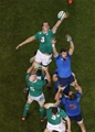 Ireland lock Devin Toner stretches for a lineout ball above France's Damien Chouly Credit: ©INPHO/Billy Stickland