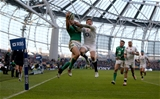 Conor Murray's pinpoint kick gave Robbie Henshaw the opportunity to rise about Alex Goode and score in the right corner Credit: ©INPHO/Dan Sheridan