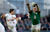 Ireland captain Paul O'Connell stretches to block a kick from England scrum half Ben Youngs Credit: ©INPHO/Dan Sheridan