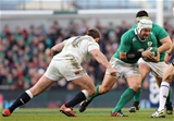 Ireland's tireless hooker Rory Best tries to break away from English prop Joe Marler Credit: ©INPHO/Colm O'Neill