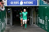 Ireland captain Paul O'Connell leads his team-mates out at the Aviva Stadium Credit: ©INPHO/Dan Sheridan