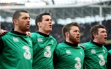 Rob Kearney, Jonathan Sexton, Sean O'Brien and Peter O'Mahony are pictured together during the anthems Credit: ©INPHO/Dan Sheridan