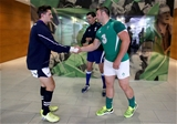 Ireland's stand-in captain Sean O'Brien shakes hands with his Scottish counterpart Henry Pyrgos at the coin toss Credit: ©INPHO/Dan Sheridan