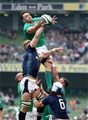 Jack Conan, Ireland's new cap in the back row, reaches for a lineout ball with Scottish number 8 Dave Denton Credit: ©INPHO/Dan Sheridan