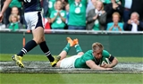 Luke Fitzgerald dives over to score his first try for Ireland since the 2009 Six Nations Credit: ©INPHO/Billy Stickland