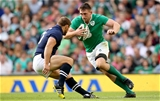 Jack Conan, who made his debut for Ireland, is pictured taking on experienced Scottish hooker Ross Ford Credit: ©INPHO/James Crombie