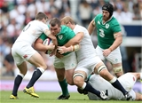 Prop Jack McGrath makes the hard yards under pressure from George Ford and Chris Robshaw Credit: ©INPHO/Dan Sheridan