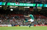 Jonathan Sexton, the eventual man-of-the-match, kicks an opening penalty for Ireland Credit: ©INPHO/Dan Sheridan