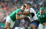 Chris Henry, who was making his first RWC start in the back row, takes the ball on for Ireland Credit: ©INPHO/Billy Stickland