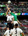 A lineout duel between Daniel Carpo and Jamie Heaslip, Ireland's captain for the day, at Wembley Stadium Credit: ©INPHO/James Crombie