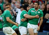 Having finished off Ireland's fifth try, Rob Kearney celebrates with back rowers Sean O'Brien and Chris Henry Credit: ©INPHO/Dan Sheridan