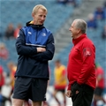 Leinster head coach Leo Cullen and Dragons director of rugby Lyn Jones have a pre-match chat Credit: ©INPHO/Ryan Byrne