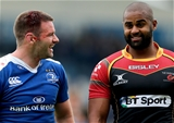 Leinster winger Fergus McFadden and Aled Brew of the Dragons have a laugh together after the final whistle Credit: ©INPHO/Ryan Byrne