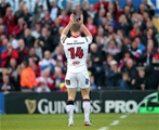 Ulster and Ireland winger Andrew Trimble acknowledges the support of the fans ahead of his record-breaking 190th appearance Credit: ©INPHO/Presseye/Darren Kidd