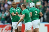 Simon Zebo congratulates Keith Earls whose well-worked try moved Ireland into a 10-3 lead Credit: ©INPHO/James Crombie