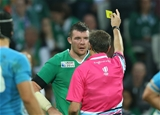 Flanker Peter O'Mahony was sin-binned by referee Jerome Garces in the 71st minute Credit: ©INPHO/Billy Stickland