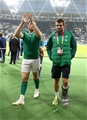 Jamie Heaslip and Jared Payne, who missed the game with a bruised foot, are pictured following Ireland's third pool win Credit: ©INPHO/Dan Sheridan
