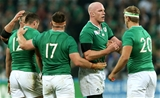 Skipper Paul O'Connell celebrates Ireland's quarter-final qualification with Chris Henry Credit: ©INPHO/James Crombie