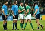 Backs Robbie Henshaw and Jonathan Sexton embrace at the final whistle Credit: ©INPHO/James Crombie
