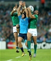 Ireland's Simon Zebo and Dave Kearney compete for a high ball with Italian centre Michele Campagnaro Credit: ©INPHO/James Crombie