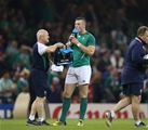 Robbie Henshaw, who was making his second successive World Cup start, is pictured with masseur Willie Bennett Credit: ©INPHO/Billy Stickland