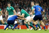 Ireland's Sean O'Brien runs into a tackle from France centre Wesley Fofana Credit: ©INPHO/Dan Sheridan