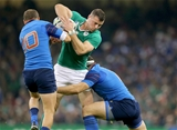 Ireland centre Robbie Henshaw is closed down by France's Frederic Michalak and Guilhem Guirado Credit: ©INPHO/Dan Sheridan