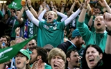 The Ireland fans show their delight as Conor Murray strikes for the second try Credit: ©INPHO/James Crombie