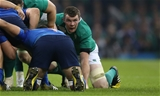 Corkman Peter O'Mahony gets in position for a scrum during the crunch clash with les Bleus Credit: ©INPHO/Billy Stickland