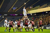 Second row Dan Tuohy gathers a lineout ball for Neil Doak's men during the first half Credit: ©SPORTSFILE/Ross Parker