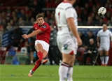 Number 10 Ian Keatley knocks over a penalty to give Munster a 22-21 advantage Credit: ©INPHO/Ryan Byrne