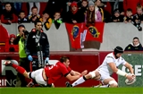 Replacement lock Dan Tuohy bags the try-scoring bonus point for Ulster despite a despairing tackle from CJ Stander Credit: ©INPHO/James Crombie