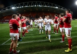 Paddy Jackson and the Ulster players are clapped off the pitch by their Munster counterparts Credit: ©INPHO/James Crombie