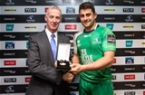 Des Roche from Diageo presented Connacht try scorer Tiernan O'Halloran with his PRO12 man-of-the-match medal Credit: ©INPHO/James Crombie