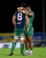 Connacht skipper John Muldoon celebrates the win with influential centre Bundee Aki Credit: ©INPHO/James Crombie