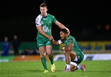 Matt Healy celebrates with fellow back Bundee Aki as Connacht make it five victories in six PRO12 matches Credit: ©INPHO/James Crombie