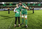 Connacht captain John Muldoon is pictured with the team mascot ahead of their Halloween night clash with the Scots Credit: ©INPHO/James Crombie