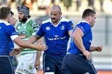 Debutant lock Hayden Triggs celebrates with his new team-mates as Leinster hit the front in Treviso Credit: ©INPHO/Maurilio Boldrini
