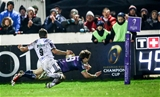 Scrum half Kieran Marmion goes over in the left corner to score Connacht's third try, following a crisp passing move involving himself, Niyi Adeolokun and Robbie Henshaw Credit: ©INPHO/James Crombie