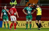 Referee Ben Whitehouse yellow cards John Muldoon after he pulled back Andrew Conway off the ball Credit: ©INPHO/James Crombie