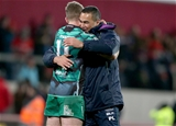 Connacht head coach Pat Lam and winger Matt Healy hug it out after a job well done by the westerners Credit: ©INPHO/Dan Sheridan
